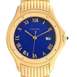 Cartier Cougar 18K Yellow Gold Blue Dial Unisex Watch 11651