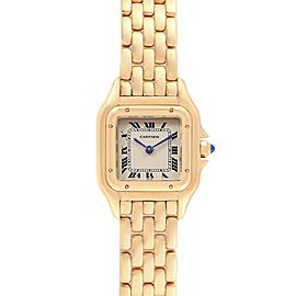 Cartier Panthere Yellow Gold Blue Sapphire Crown Ladies Watch W25022B9