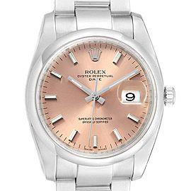 Rolex Date Salmon Dial Oyster Bracelet Steel Mens Watch 115200