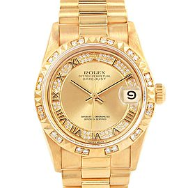 Rolex President Midsize Yellow Gold Mirriad Diamond Ladies Watch 68258