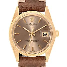 Rolex Date 18K Yellow Gold Bronze Dial Vintage Mens Watch 1503