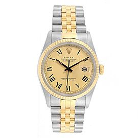 Rolex Datejust Steel Yellow Gold Buckley Dial Vintage Mens Watch 16013