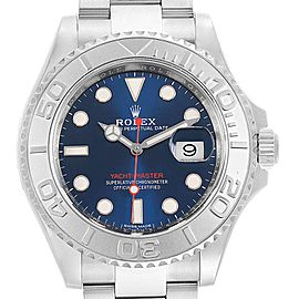Rolex Yachtmaster Steel Platinum Blue Dial Mens Watch 116622 Box Card