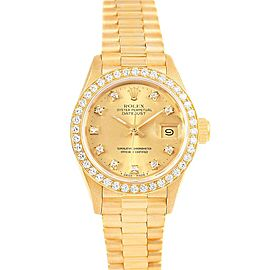 Rolex President Datejust Diamond Dial Bezel 18K Yellow Gold Watch 69178