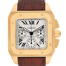 Cartier Santos 100 Yellow Gold Chronograph Watch W20096Y1 Box Papers
