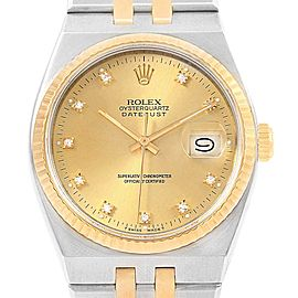 Rolex Oysterquartz Datejust Steel Yellow Gold Diamond Mens Watch 17013
