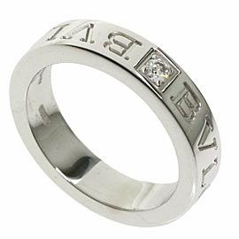 BVLGARI 1P Diamond 18k White Gold Double logo Ring