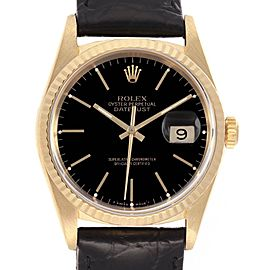 Rolex Date 18k Yellow Gold Blue Dial Automatic Mens Watch 16238