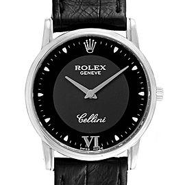 Rolex Cellini Classic 18K White Gold Black Dial Mens Watch 5116