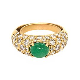 18k Yellow Gold Pave Diamond and Emerald Cabochon Ring