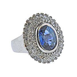 3.55 Carat Aquamarine Diamond Gold Ring