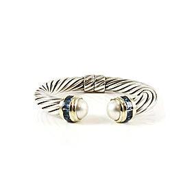 David Yurman Sterling Silver 14K Yellow Gold 10mm Mabe Pearl Blue Topaz Princess Bracelet