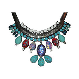 Dannijo Silver Tone Oxidized Poured Glass Rhinestone Bib Necklace