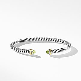 David Yurman Cable Classic Collection Bracelet with Peridot and 18k Yellow Gold