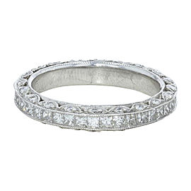 Tacori Classic Cresent Platinum Diamond Wedding Band Size 6.25