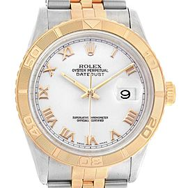 Rolex Datejust Turnograph Steel Yellow Gold White Dial Mens Watch 16263