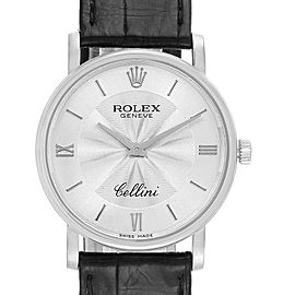 Rolex Cellini Classic White Gold Decorated Silver Dial Mens Watch 5115