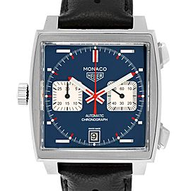 Tag Heuer Monaco Chronograph Blue Dial Mens Watch CAW211P Box Card