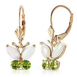 1.39 CTW 14K Solid Gold Butterfly Earrings Opal Peridot