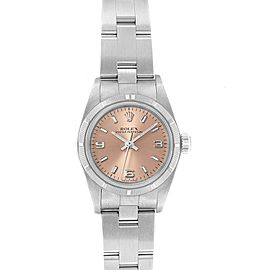 Rolex Oyster Perpetual Salmon Dial Steel Ladies Watch 76030 Box Papers