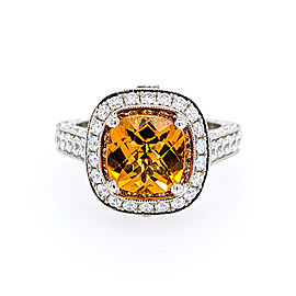 Jack Kelege KPR 509 Platinum Citrine, Diamonds Ring