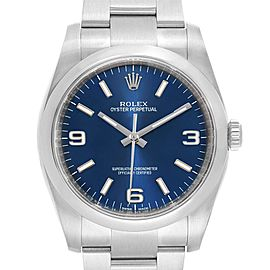 Rolex Oyster Perpetual Blue Dial Domed Bezel Mens Watch 116000