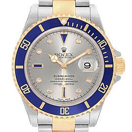 Rolex Submariner Steel Gold Diamond Sapphire Serti Watch 16613 Unworn