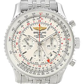 Breitling Navitimer GMT 48 Silver Dial Steel Mens Watch AB0441