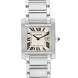 Cartier Tank Francaise Midsize Steel Ladies Watch W51011Q3 Box Papers