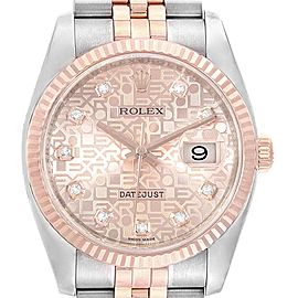 Rolex Datejust 36 Dial Steel EveRose Gold Diamond Unisex Watch 116231