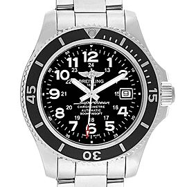 Breitling Superocean II Black Dial Steel Mens Watch A17365 Box Papers