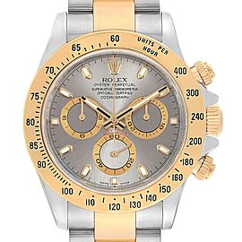 Rolex Daytona Steel 18K Yellow Gold Slate Dial Watch 116523 Box Card
