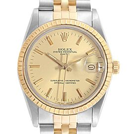 Rolex Date Mens Steel 18k Yellow Gold Mens Watch 15053 Box Papers