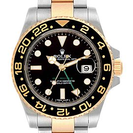 Rolex GMT Master II Yellow Gold Steel Mens Watch 116713 Box Card
