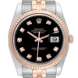 Rolex Datejust 36 Steel EveRose Gold Diamond Unisex Watch 116231