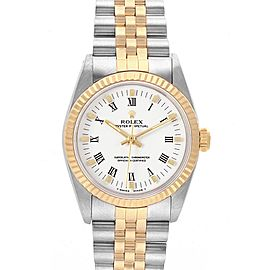 Rolex Midsize 31 Yellow Gold Steel White Dial Ladies Watch 67513