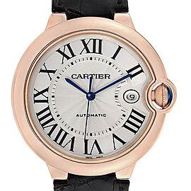 Cartier Ballon Bleu 42 Rose Gold Automatic Mens Watch WGBB0017 Box Papers