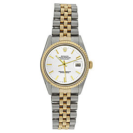 Rolex Datejust 16233 Stainless Steel & 18K Gold Bezel White Stick Dial Mens Watch