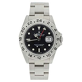 Rolex 16570 Stainless Steel Explorer Black Face Dial 24 Hour Bezel Inner Bezel Engraving Mens Watch