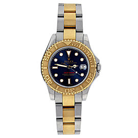 Rolex Yachtmaster 168623 Stainless Steel & 18K Gold Blue Dial 35mm Unisex Watch