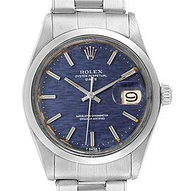 Rolex Date Blue Brick Dial Domed Bezel Steel Vintage Mens Watch 1500