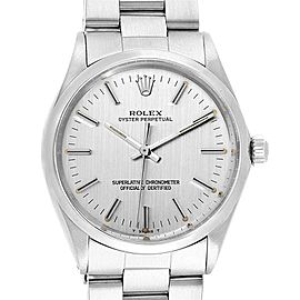 Rolex Oyster Perpetual Silver Linen Dial Vintage Steel Mens Watch 1002