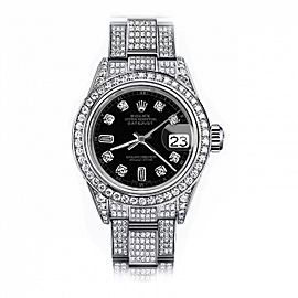 Rolex Black Track 8+2 26mm Datejust Steel SS Full Diamonds Oyster Band