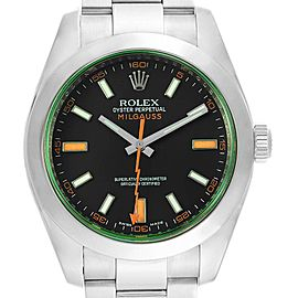 Rolex Milgauss Black Dial Green Crystal Mens Watch 116400V Box Card
