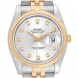 Rolex Datejust 36 Steel Yellow Gold Diamond Mens Watch 116233 Box