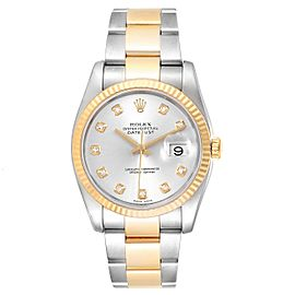 Rolex Datejust Steel Yellow Gold Silver Diamond Dial Mens Watch 116233