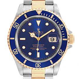 Rolex Submariner Blue Dial Bezel Steel Yellow Gold Mens Watch 16613