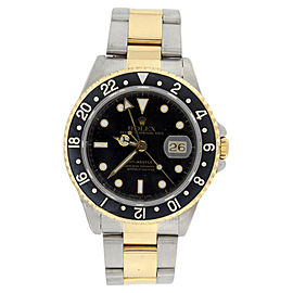 Rolex GMT Master II 16713 Stainless Steel & 18K Yellow Gold Black Dial Black Bezel Mens Watch