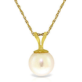 2 CTW 14K Solid Gold Necklace Natural pearl