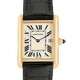 Cartier Tank Louis 18k Yellow Gold Black Strap Watch W1529756